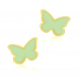 Boucles d'oreilles en or jaune et laque, papillon