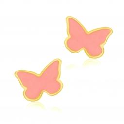 Boucles d'oreilles en or jaune et laque corail, papillon