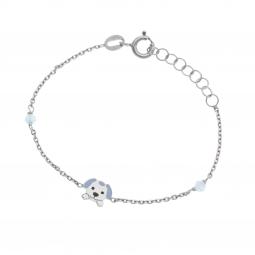 Bracelet en argent rhodié, oxydes de zirconium et laque