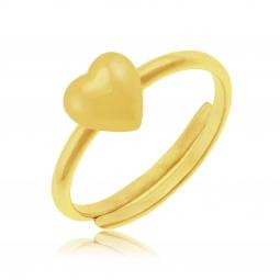 Bague règlable en plaqué or, coeur