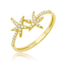 Bague en or jaune et oxydes de zirconium, étoiles de mer