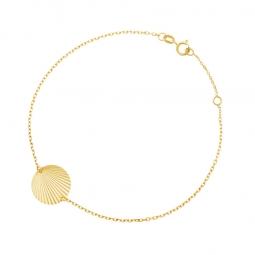 Bracelet en or jaune, plaque ronde striée