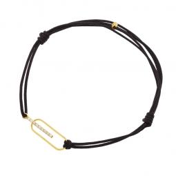 Bracelet cordon noir en or jaune, oxydes de zirconium