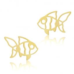 Boucles d'oreilles en or jaune, poisson