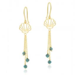 Boucles d'oreilles en or jaune et turquoises, coquillage