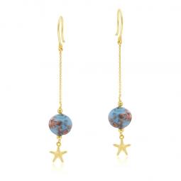 Boucles d'oreilles or jaune verre de Venise, étoile de mer