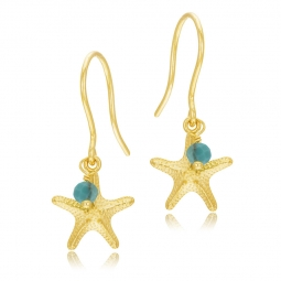 Boucles d'oreilles or jaune, turquoise, étoile de mer