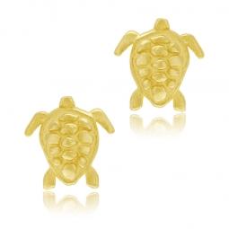 Boucles d'oreilles en or jaune, tortue