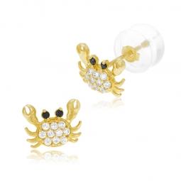Boucles d'oreilles en or jaune et oxydes de zirconium, crabe