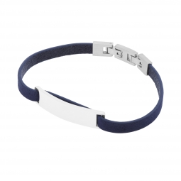 Bracelet cuir bleu en acier, plaque rectangle 9 mm