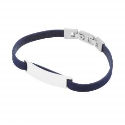 Bracelet cuir bleu en acier, plaque rectangle 9 mm