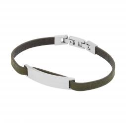 Bracelet cuir kaki en acier, plaque rectangle mate 9 mm