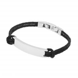Bracelet double cuir tressé en acier, plaque rectangle 10 mm