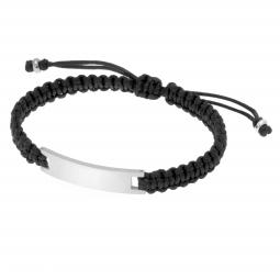Bracelet cordon noir en acier, plaque rectangle