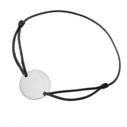 Bracelet cordon noir en argent rhodié, plaque ronde 19.5 mm