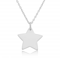Collier en argent rhodié, étoile 20 mm
