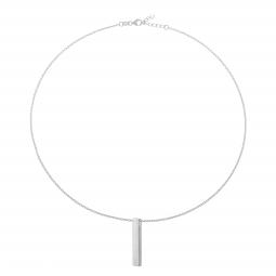 Collier en argent rhodié, plaque verticale 3.2 mm