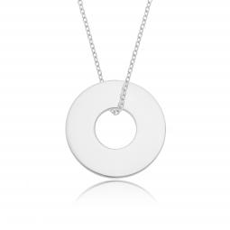 Collier en argent rhodié, anneau 20 mm