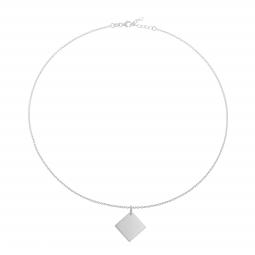 Collier en argent rhodié, plaque losange 17 mm