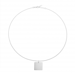 Collier en argent rhodié, plaque carré 20 mm