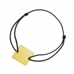 Bracelet cordon noir en plaqué or, plaque carré 20 mm