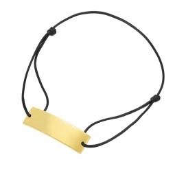 Bracelet cordon noir en plaqué or, plaque rectangle 10mm