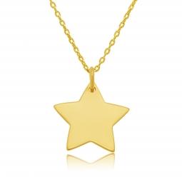 Collier en plaqué or, étoile 20 mm