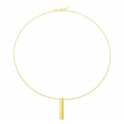 Collier en plaqué or, plaque verticale 3.2 mm
