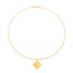 Collier en plaqué or, losange 17 mm