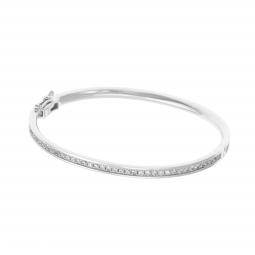 Bracelet jonc en argent rhodié, oxydes de zirconium