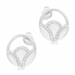 Boucles d'oreilles en argent rhodié, oxydes de zirconium