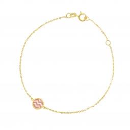 Bracelet en or jaune et nacre, laque corail