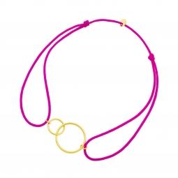 Bracelet cordon fuschia en or jaune