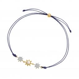 Bracelet cordon en plaqué or et rhodié, nacre et oxydes de zirconium