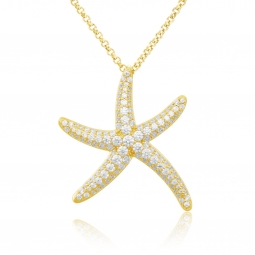Collier en argent doré et oxydes de zirconium, étoile de mer