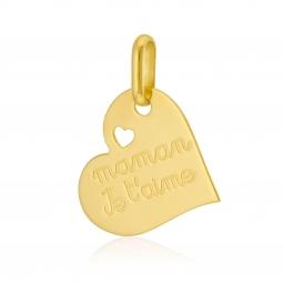 Pendentif en or jaune, coeur, maman je t'aime