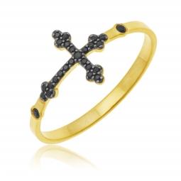 Bague en or jaune rhodié et spinelles, croix