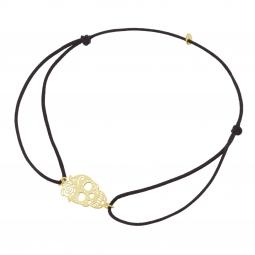 Bracelet cordon en or jaune, tête de mort