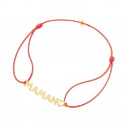 Bracelet cordon en or jaune, Maman