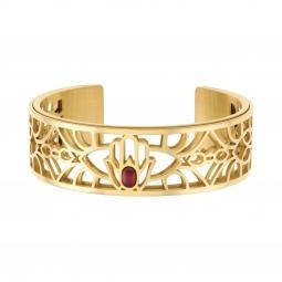 Bracelet jonc Méli Versa en acier doré et oxyde de zirconium 20 mm