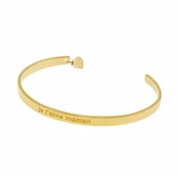 Bracelet jonc en plaqué or, coeur, je t'aime maman