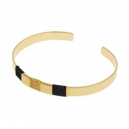Bracelet jonc en plaqué or et cordon