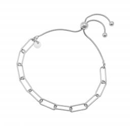Bracelet maille rectangle en argent rhodié