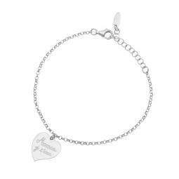 Bracelet en argent rhodié, coeur maman je t'aime