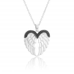 Collier en argent rhodié et oxydes de zirconium, ailes