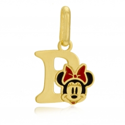 Pendentif en or jaune et laque, lettre B, Minnie Disney