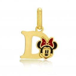 Pendentif en or jaune et laque, lettre D, Minnie Disney