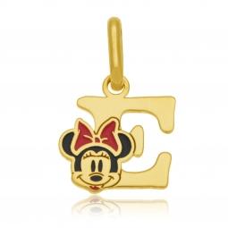 Pendentif en or jaune et laque, lettre E, Minnie Disney