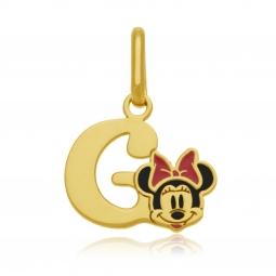 Pendentif en or jaune et laque, lettre G, Minnie Disney