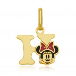 Pendentif en or jaune et laque, lettre H, Minnie Disney